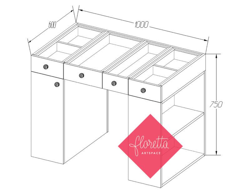 Стол для творчества Floretta artspace с тумбой и стеллажом