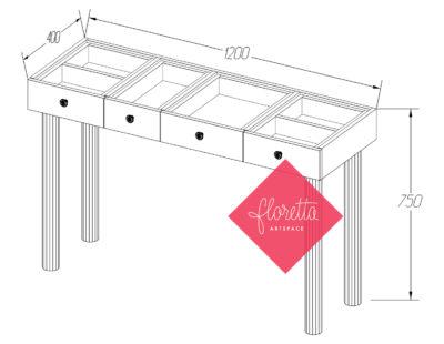 Узкий стол для творчества Floretta artspace, мод. Н-120*40