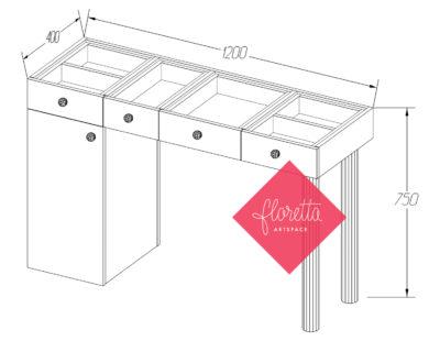 Узкий стол для рукоделия Floretta artspace, 28 цветов.