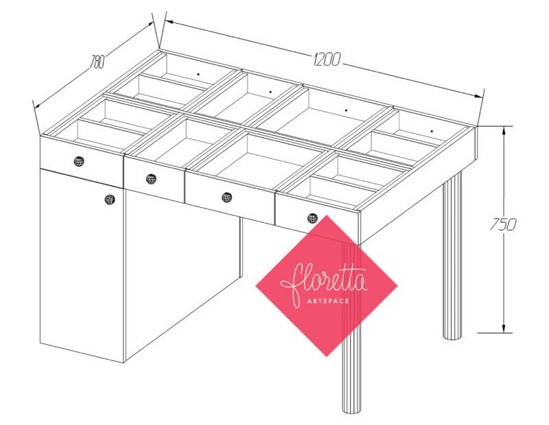 Швейный стол с тумбой Floretta artspace, мод.ТН-120*78