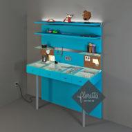 Индивидуальный дизайн-проект рабочего места для рукоделия, 120*40 см, цвет Голубой